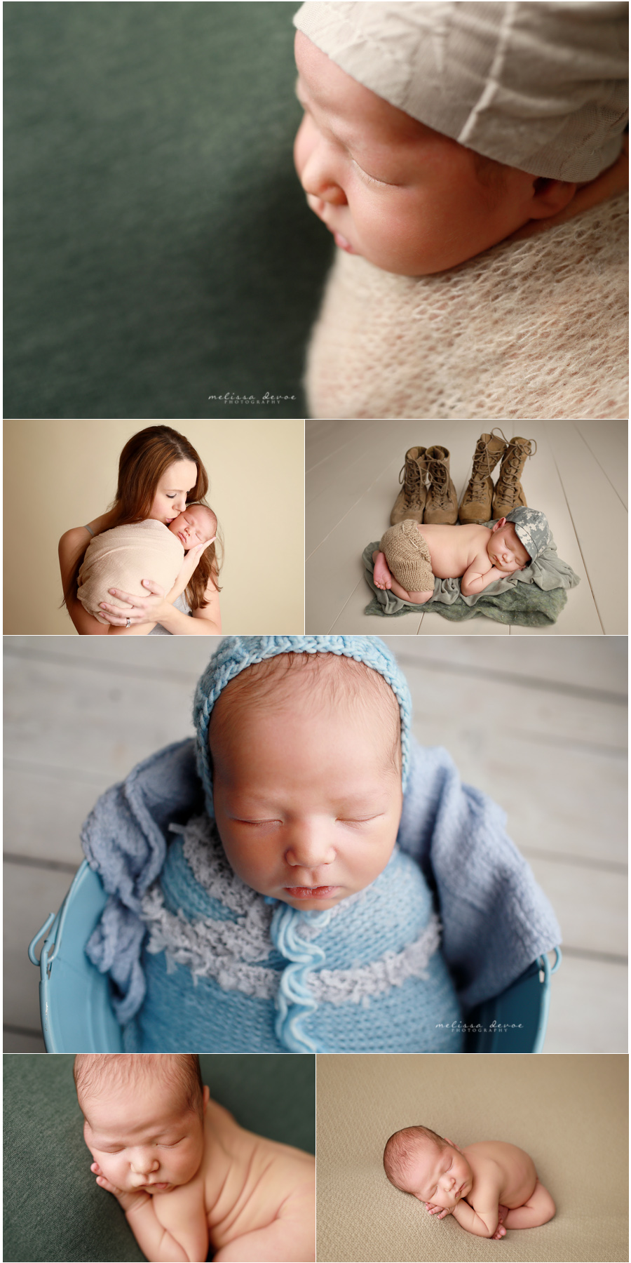 Baby Boy Army setup for newborn session